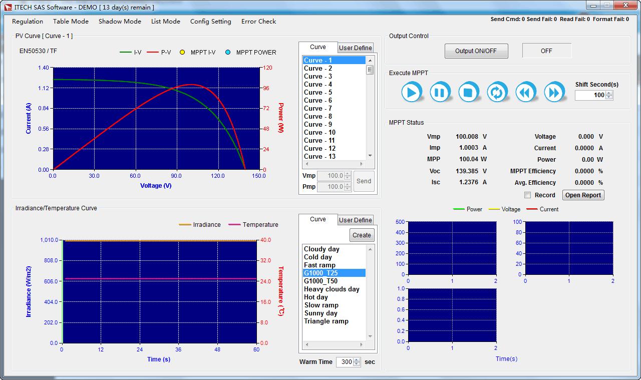 The Itech SAS1000 solar panel simulation software